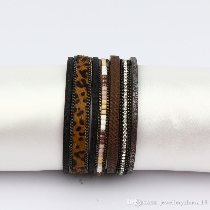 leopard print leather bracelet Jewelry Alloy Engrave Bracelet For Women Magnetic Clasp beaded Bangles Crystal Rhinestone Female Accessor