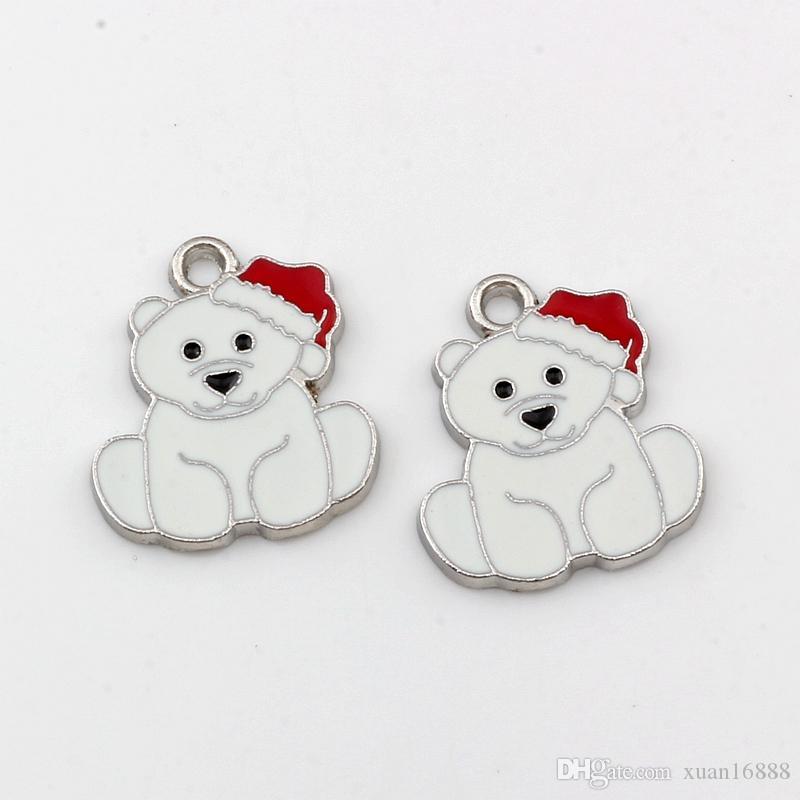 White Enamel bear Alloy charm Pendants 50Pcs/lot Fashion Jewelry DIY Fit Bracelets Necklace 21.2x 24.5mm A-521 17.5x 23mm A-520