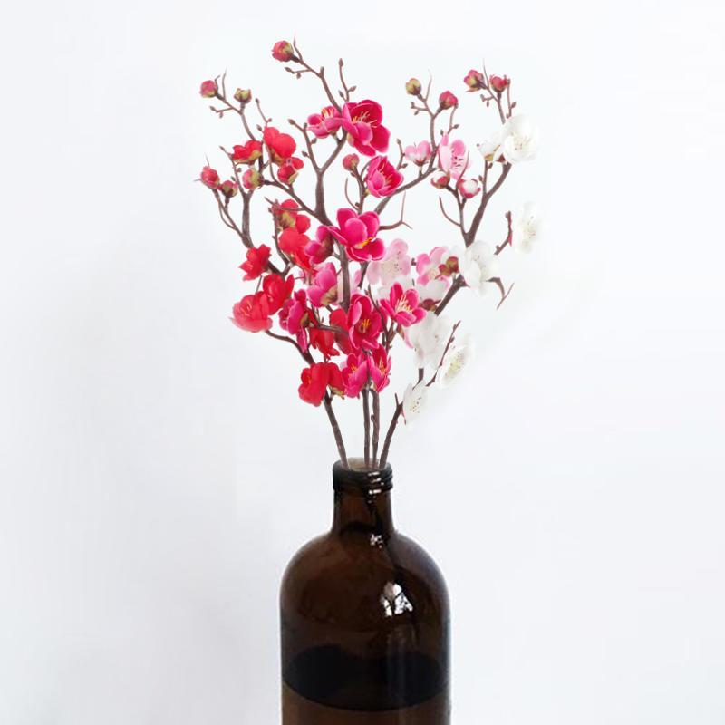 البرقوق إزهار الكرز الزهور الحرير الاصطناعي فلوريس فروع شجرة ساكورا الرئيسية طاولة غرفة المعيشة ديكور DIY مناسبات الزفاف 202
