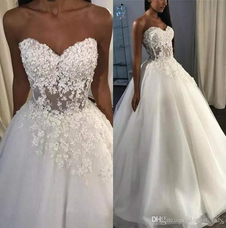 Seksi Sevgiliye A Hattı Gelinlik Korse Geri Sweep Tren 3D Dantel Sahil Düğün Gelin Törenlerinde Plaj elbiseler de mariée
