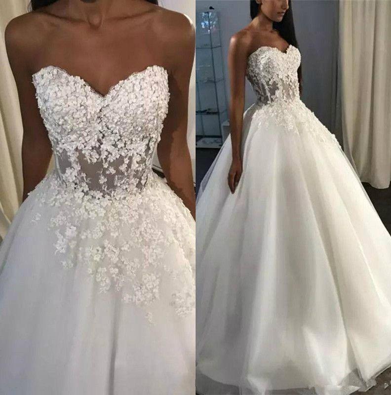 Sexy Sweetheart A Line Wedding Dresses Corset Back Sweep Train 3D Lace Seaside Wedding Bridal Gowns Beach robes de mariée