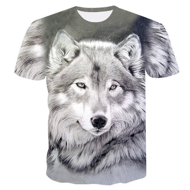 Nouveau été Marque 3D tête de loup T-shirt col rond homme à manches courtes T-shirt de mode d'hommes T-shirt manches courtes Dropshipping