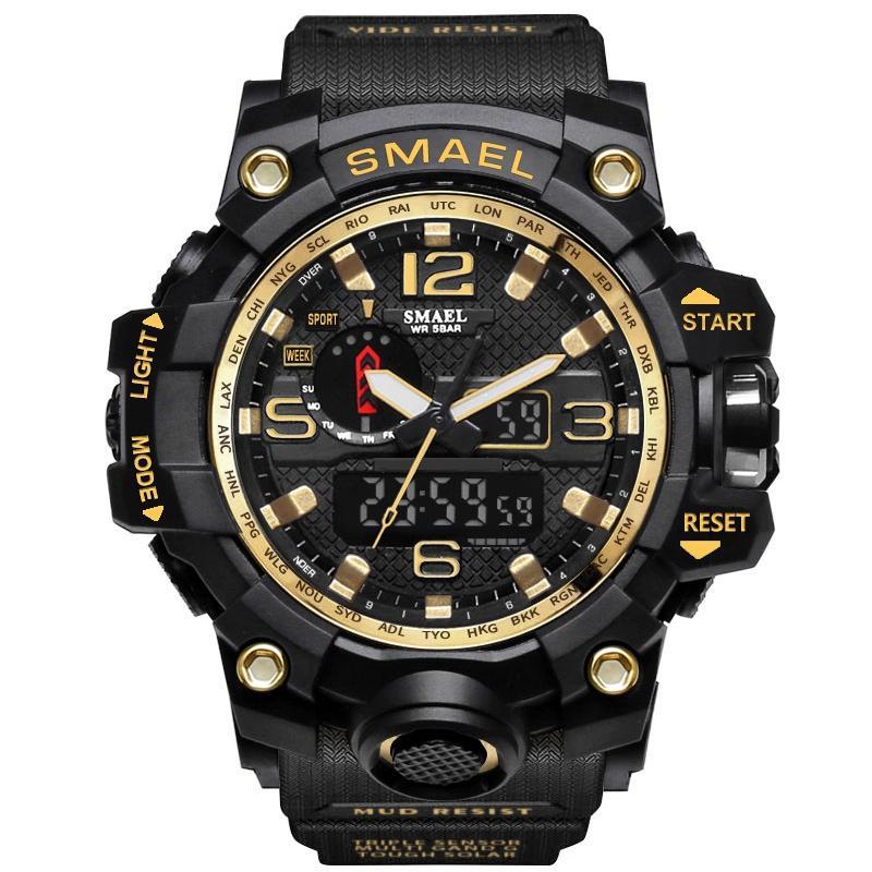 SMAEL 1545 브랜드 남성 스포츠 시계 듀얼 디스플레이 아날로그 디지털 LED 전자 석영 손목 시계 방수 수영 군사 시계