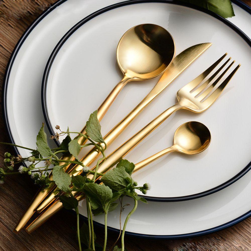 Vente chaude 4 Pcs / set Or Pur Européen Vaisselle Couteau 304 En Acier Inoxydable Western Couverts Cuisine Vaisselle Vaisselle Dîner Ensemble C19041901