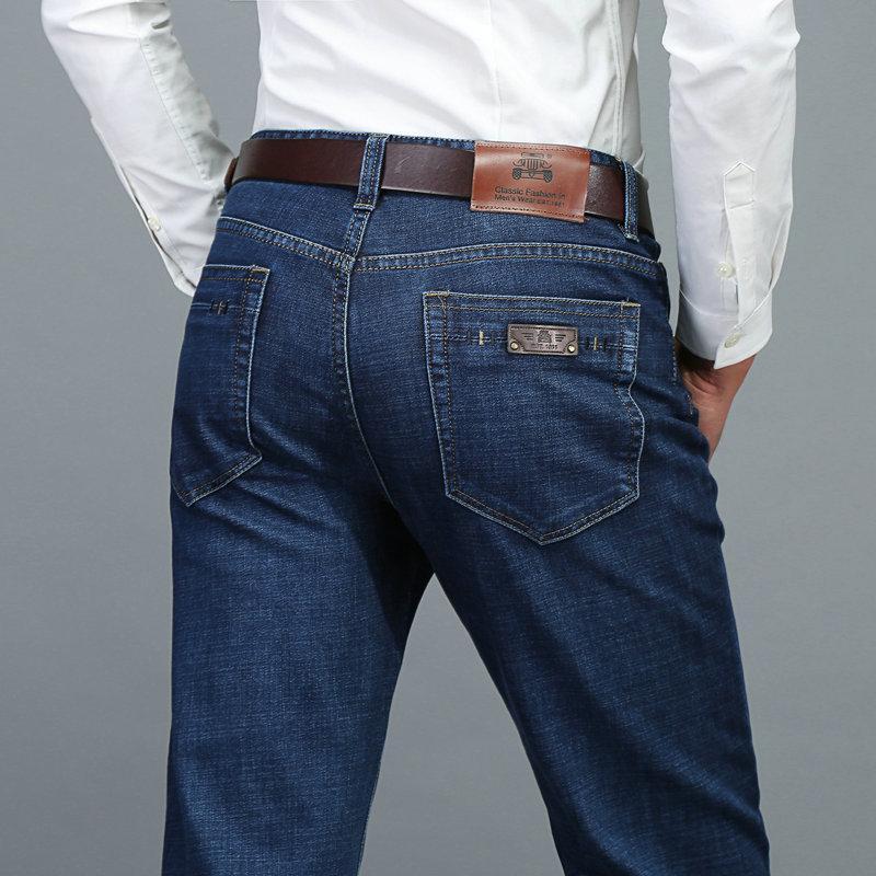 Pantaloni jeans uomo sottile Uomo Autunno diritto casuale-Cut Loose-Fit Elasticità Large Size pantaloni lunghi