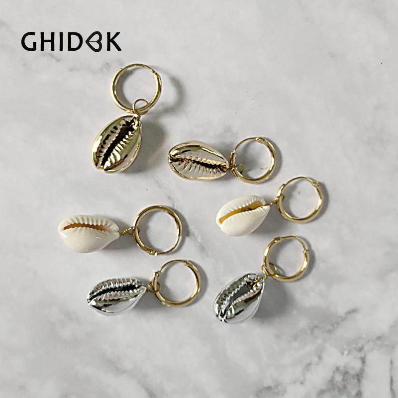 GHIDBK Boho Kauri Muschel Charm Creolen mit Farbe Optional Schöne und Süße Natürliche Muschel Ohrring Aros de Moda 2019