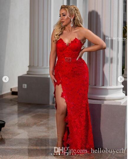 Red Lace Mantel New Prom Dresses 2019 Lange elegante Abendkleider Abendkleider Robes de Cocktail Abendkleider