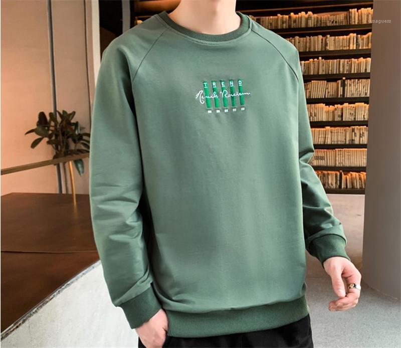 Solid Color Pullover O Ansatz beiläufige Sweatshirts Männer Langarm Bekleidung Herren Brief-Stickerei-Druck Designer Hoodies
