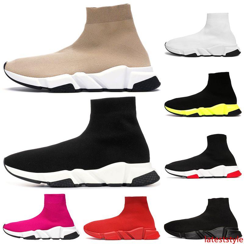 tasarımcı çorap ayakkabı üçlü siyah beyaz erkek kadın Chaussures bej glitter volt pembe moda erkek eğitmen koşucu platformu sneakers
