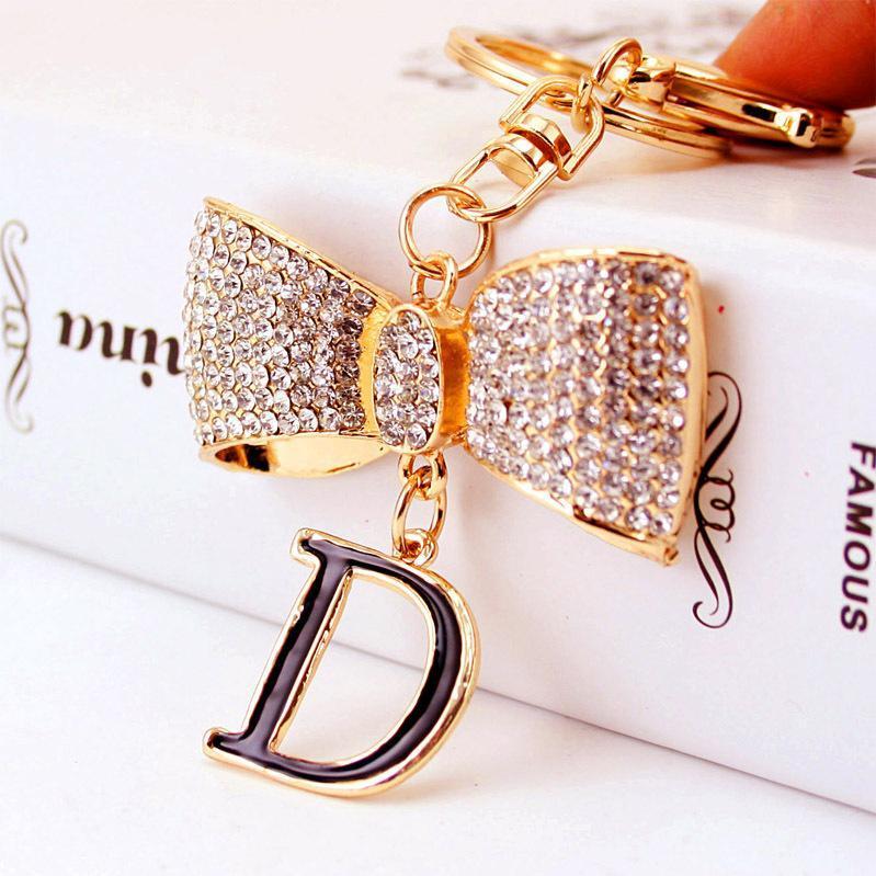Saco Acessórios Chaveiro Xdpqq Criativo cristal D Letter Bow Chaveiro das mulheres de metal pingente de presente pequena