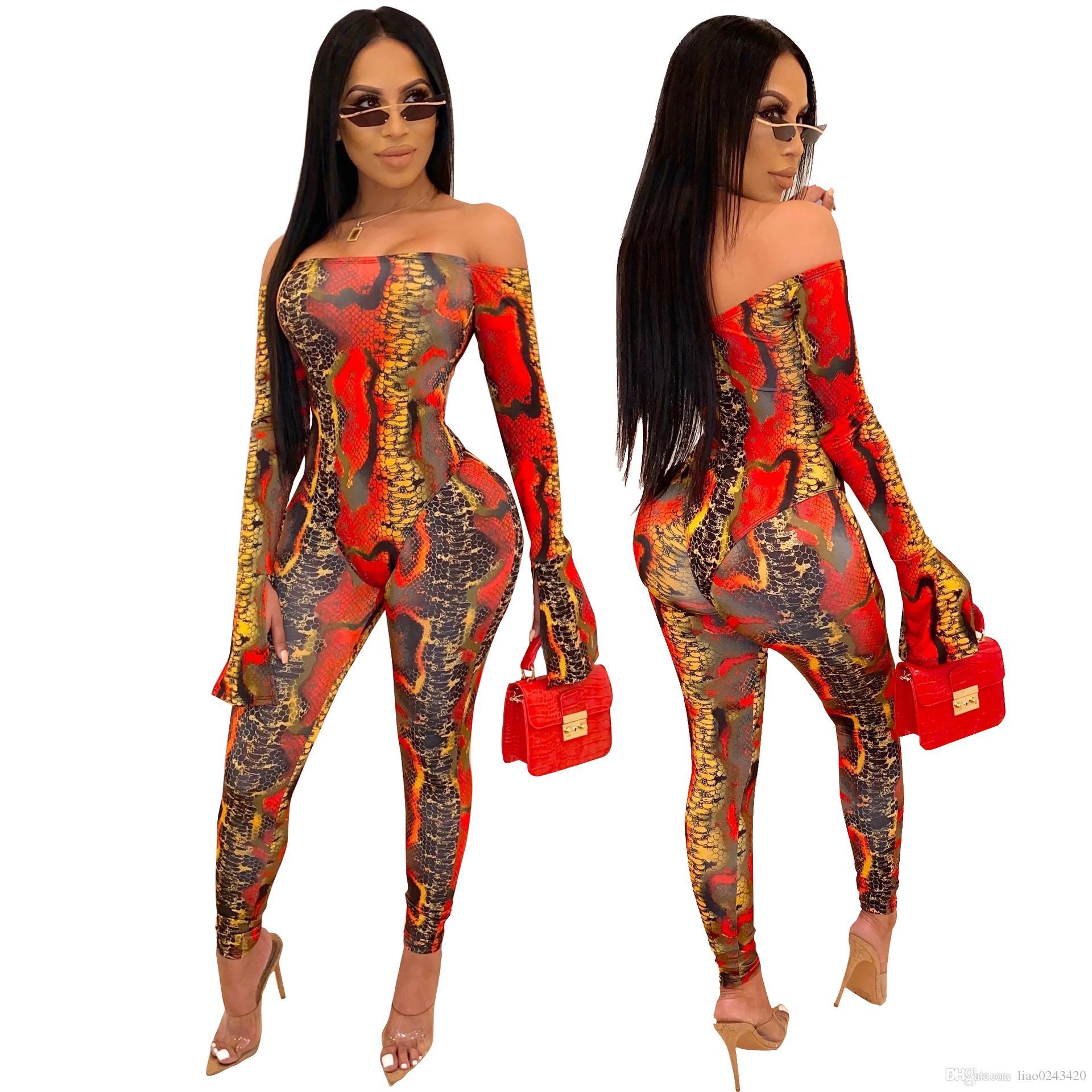 Bateau libre 2019 femmes sexy épaules Snakeskin Imprimer Jumpsuit Romper Lady Slim moulante à long Salopette Club Wear