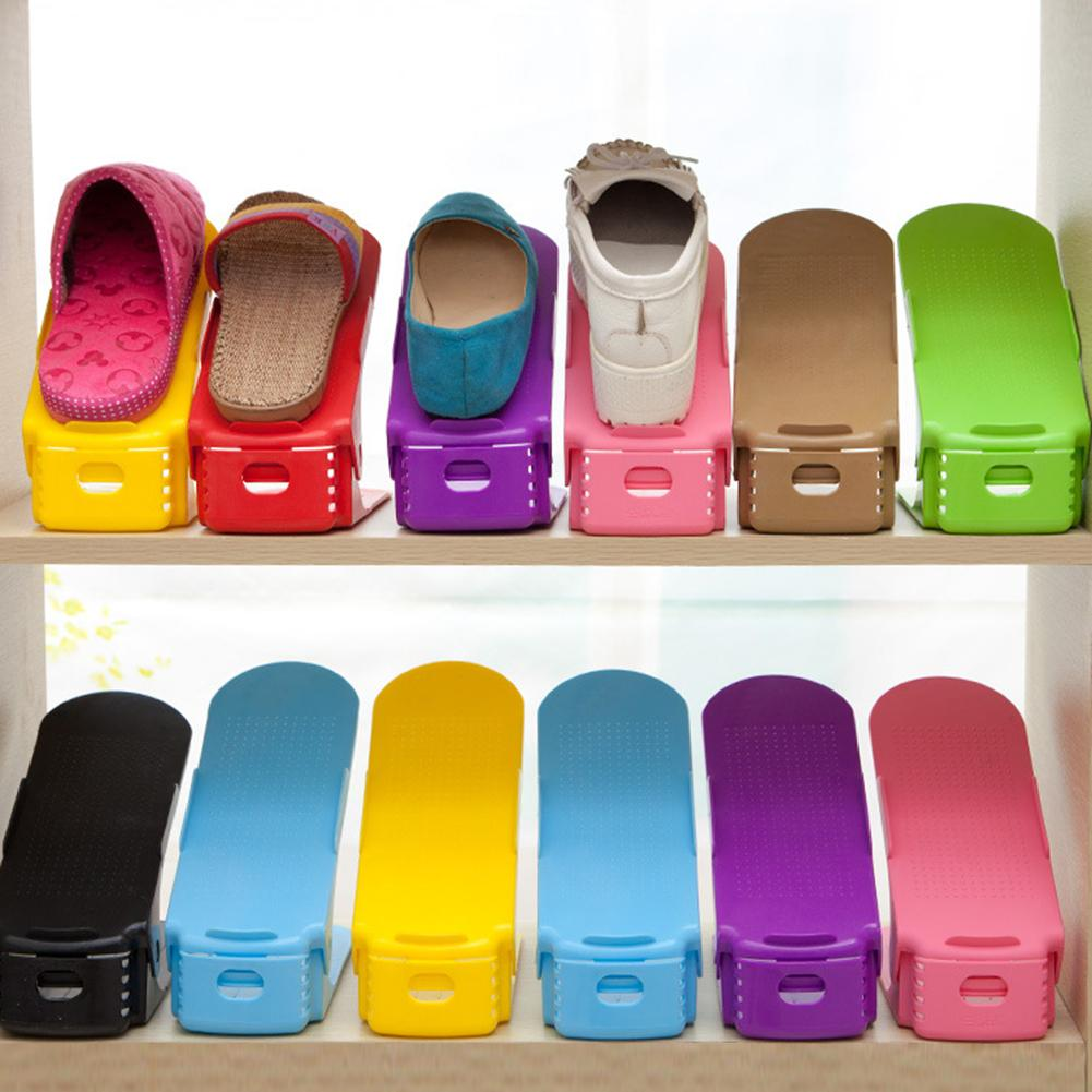 1pcs Adjustable Shoe Racks Organizer Footwear Support Slot Space Saving Cabinet Closet Stand double-layer Storage Rack Shoebox