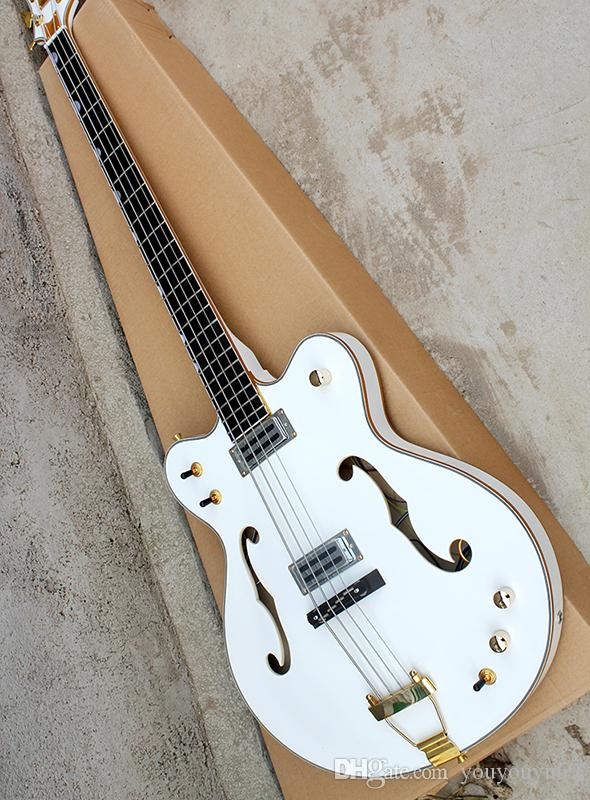 4-string white electric bass guitar with semi-hollow body, body binding, gold hardware, custom service
