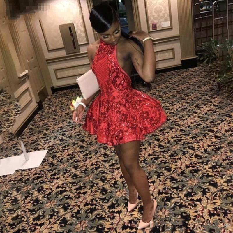 2019 новый сексуальный красный Холтер Коктейль платья Шнурок Аппликации Пайетки Homecoming платье Backless Короткое платье мини-юбки