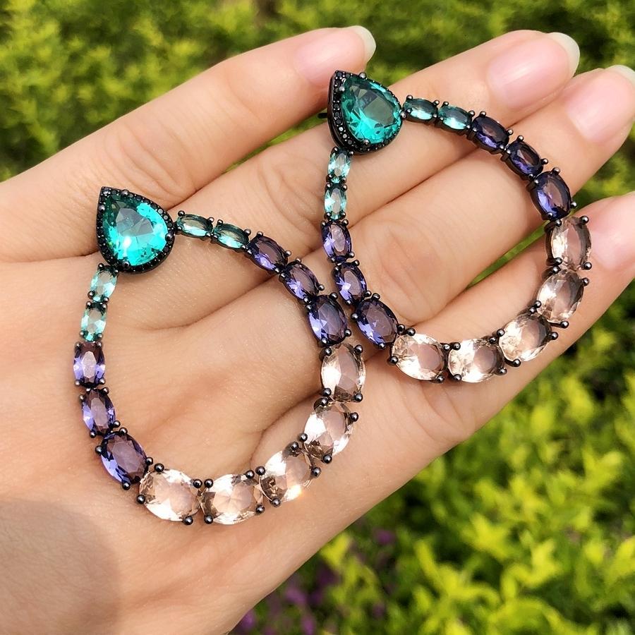Luxo Big Water Drop Dangle Brincos coloridos Cristal CZ pedra redonda oca grande Bohemia zircão brincos para mulheres jóias T191107