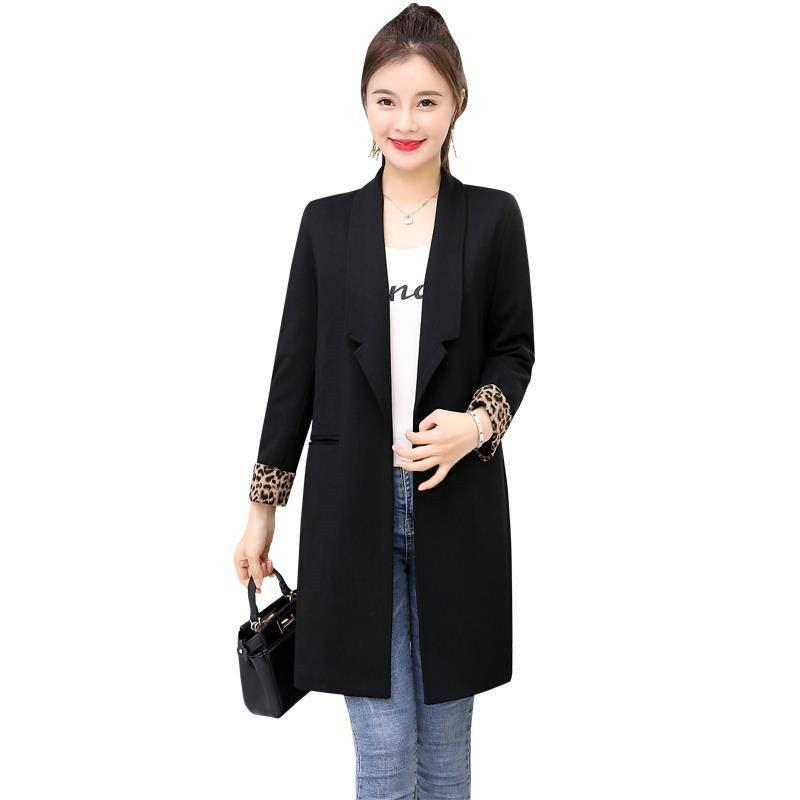 2019 новая весна корейских женщин пиджак дамы винтаж тонкий лоскутное леопардовый костюм женский плюс размер 3XL куртка Casaco пиджаки S135