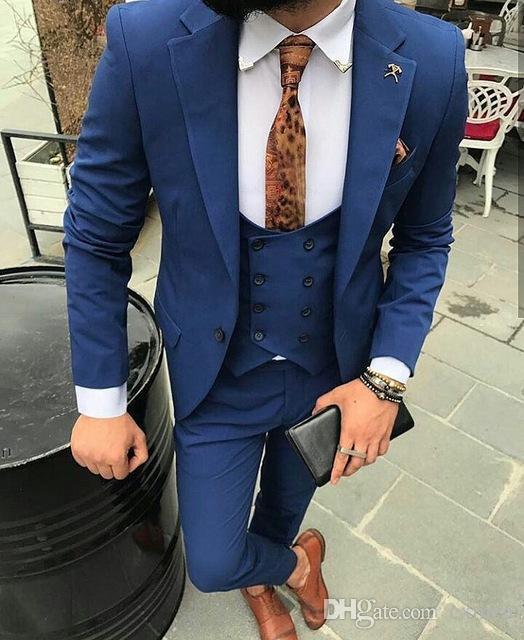 Custom Made Wedding Suits for Men 2018 Royal Blue Tuxedo Best Men Groomsmen Casual Blazer Business Prom 3 Pieces Jacket+Pants+Vest