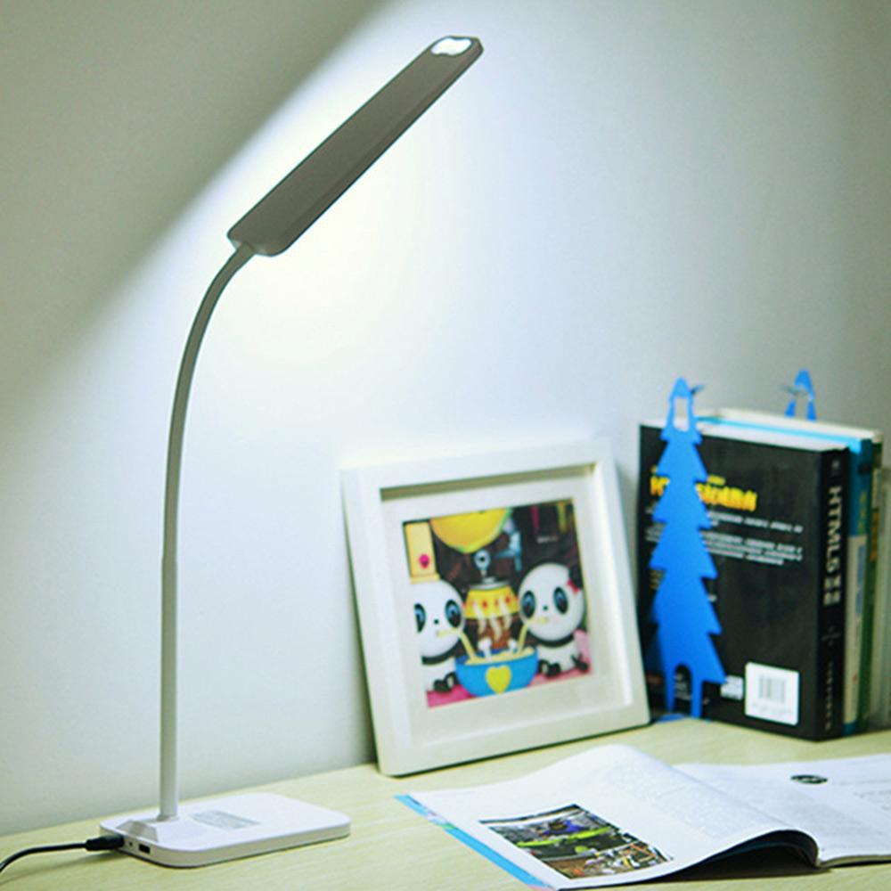 BRELONG DIODO EMISSOR de Luz Candeeiro de Mesa Lâmpada de Leitura de Estudo USB Saída de Carregamento de Proteção Ocular Luz Da Noite Branco Preto