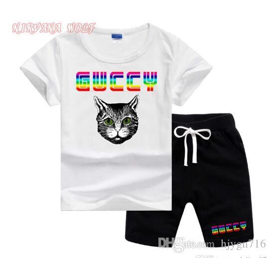 고양이 명품 디자이너 베이비 보이 여름 스포츠 유아 의류 세트 어린이 만화 T 셔츠 + 팬츠 2 개 세트 의류 악세사리 트랙 슈트 세트 2 - 7 년