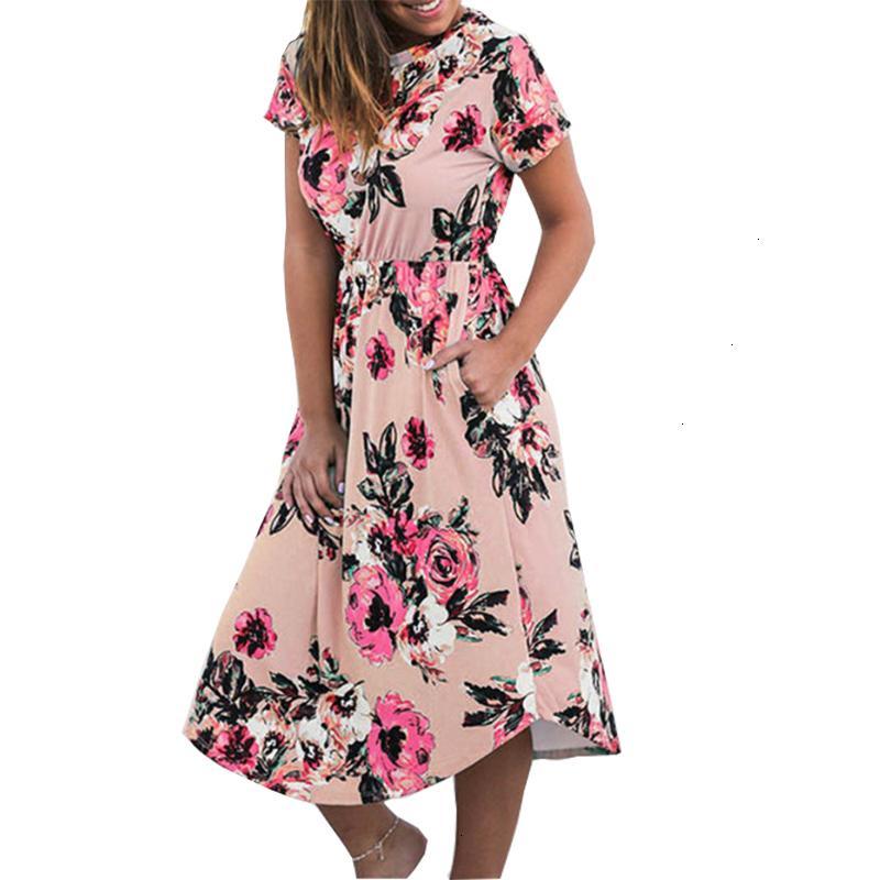 Yaz Elbise Kadın Giyim Elbise Yaz Casual Femme Boho kabartılmış Cep Kısa Kollu Elbise Robe Sundreses Gv879 B Designer Giyim yazdır