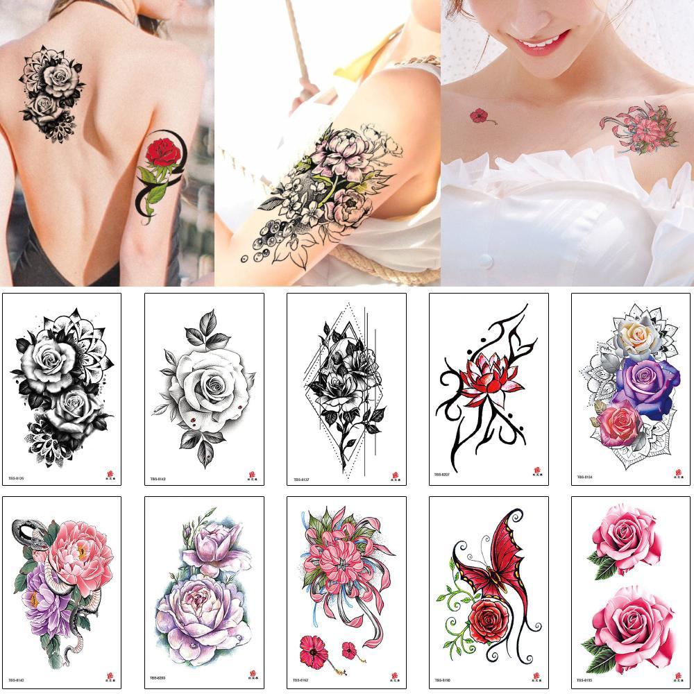 Передача цветов Arm Временные татуировки наклейки лотоса Роза пион цветок женщина тела бабочки шрама крышки татуировки бумаги Красный Розовый Черный Сундук Декаль