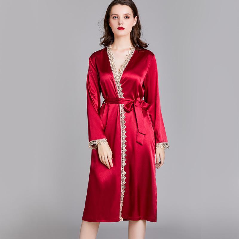 Samwestart seda de las mujeres del verano de manga larga de las señoras del camisón de la mitad de la longitud de novia traje de baño de la ropa interior vestido de seda bata