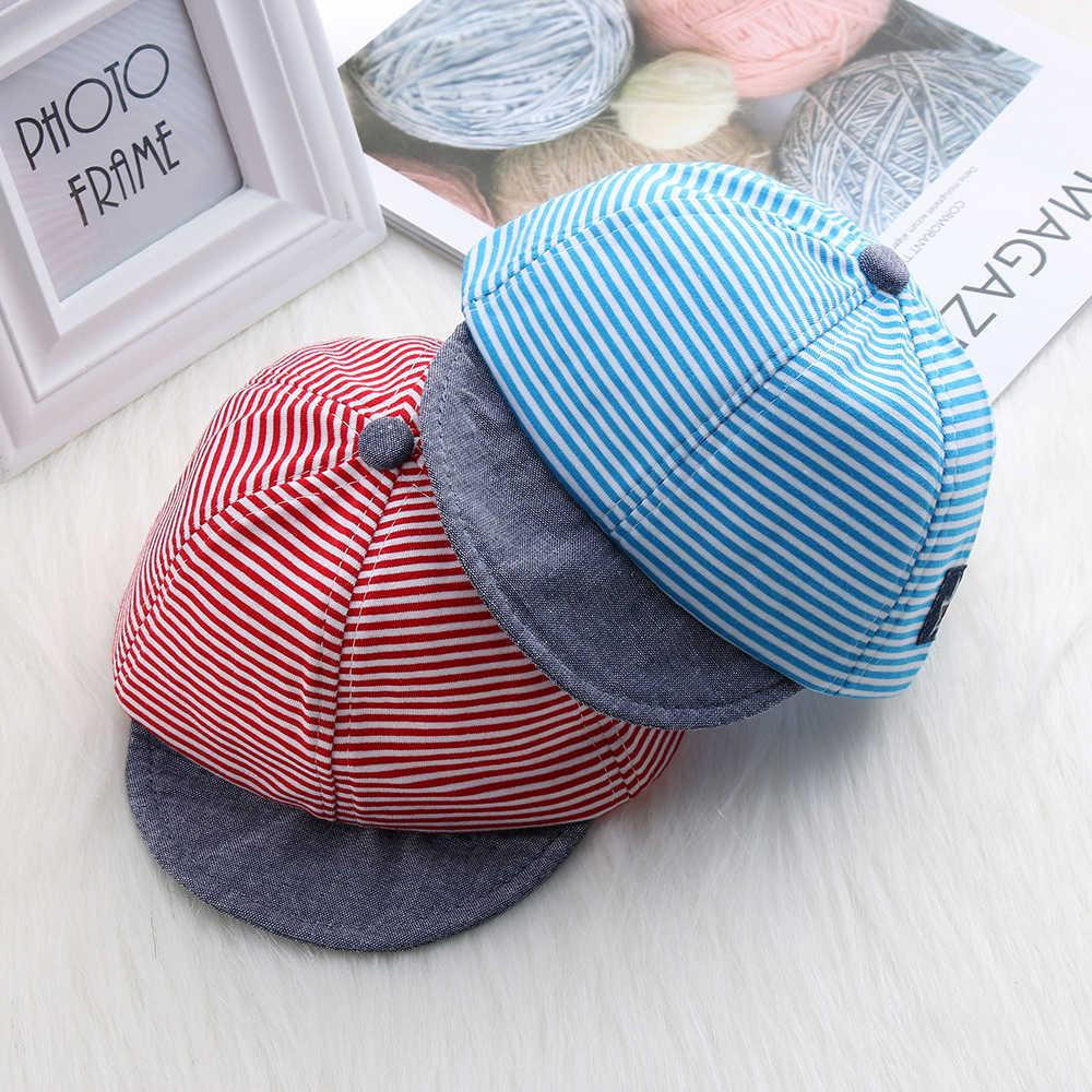 Toddler Baby Boy Summer Hats Striped Soft Cotton Eaves Baseball Snapback Cap Striped Sun Hat Beret Sunhat Suit For 0-2y