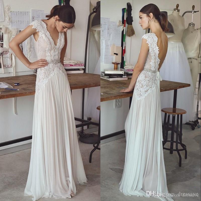 보헤미안 웨딩 드레스 캡 슬리브 V 넥 열기로 돌아 가기 주름 치마 우아한 라인 신부 가운 2020 보헤미안 웨딩 드레스