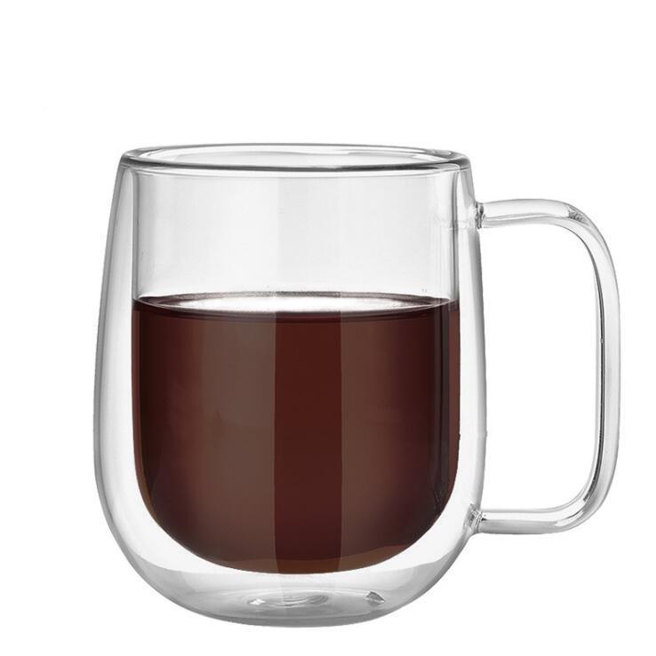 250ml 350ml Kahve Bardaklar Seti Çay Kupalar El yapımı Yaratıcı Ofisi Kupalar Isı Yalıtımı Şeffaf Drinkware Çift Cam Bardaklar