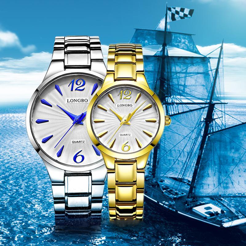 Longbo Couple Watch Lovers Oro argento cinturino da polso al quarzo Orologio da polso da uomo impermeabile donna Relogio Feminino 80278