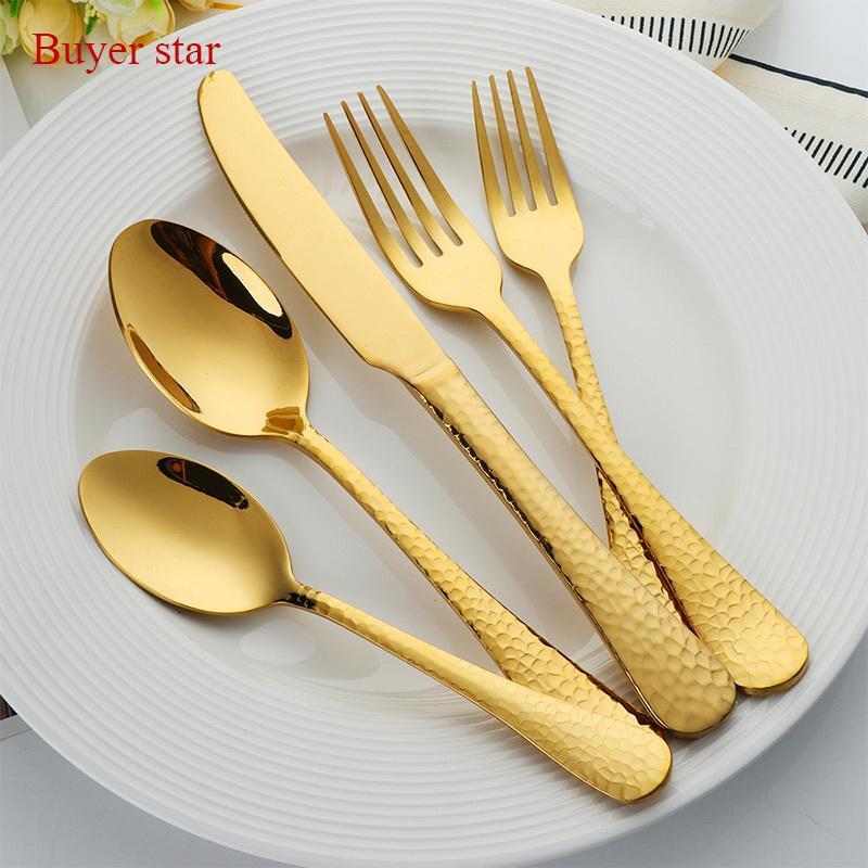 30 pcs couverts d'or élégant miroir d'or plaqué or en acier inoxydable 18/10 de vaisselle dîner fourchette Couteau salle à manger Tablespoon T200430