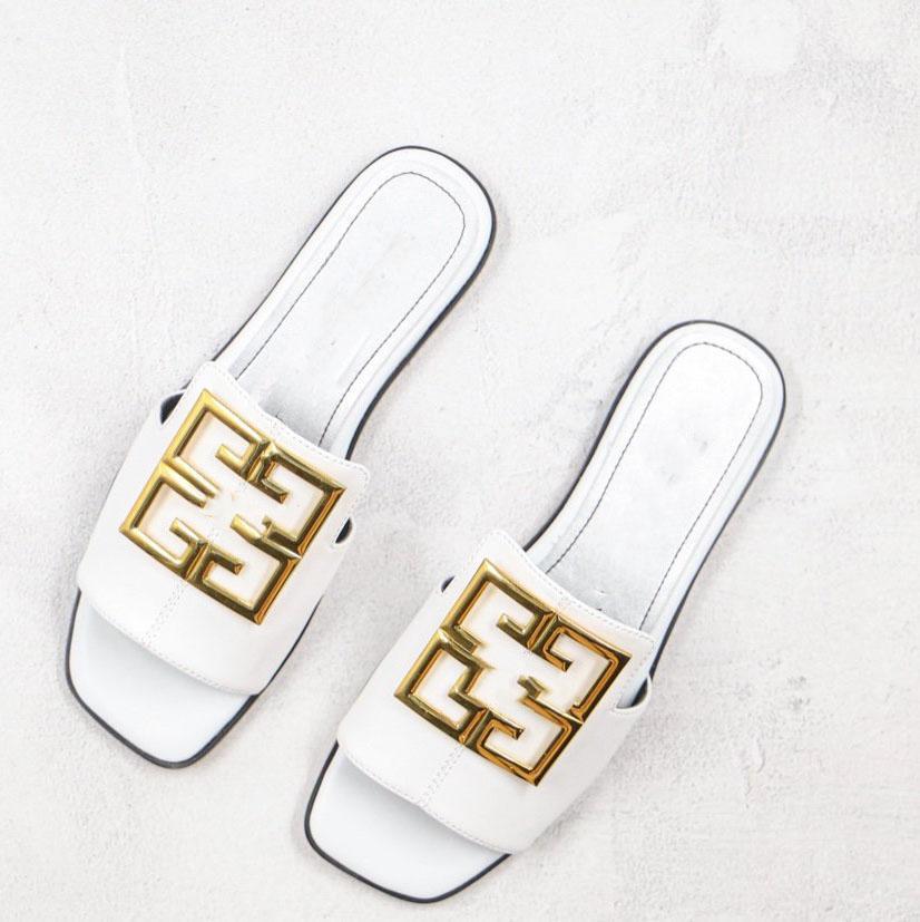 vamp üzerinde 2020 yeni patlayıcı kadınların açık ayak düz sandalet Muller terlikler, altın metal 4G rozeti toka metal doku, 4G LOGO pp