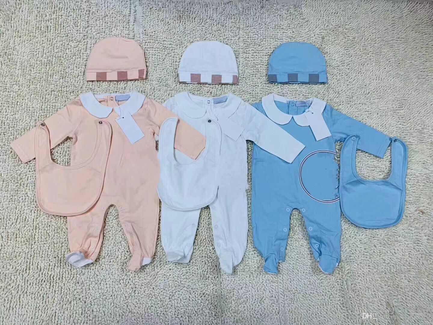 New Model Fashion Kids Baby Clothes set Cute Newborn Infant Baby Boys Letter Romper baby girl bibs Cap Outfits Set