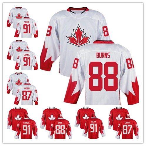 87 시드니 크로스비 (88) 브렌트 화상 (91) 스티븐 스탬 코 (91) 타일러 세귄 팀 캐나다 하키 프리미어 홈 유니폼의 2019 월드컵