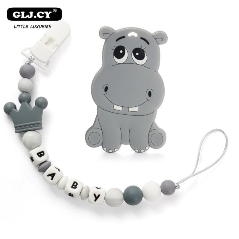 El nombre personalizado hecho a mano Chupete Clips sostenedor de la cadena de silicona chupete Cadenas hipopótamo Mordedor dentición 1 juego juguete Cadena