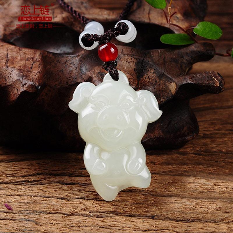 Echte weiße Jade Anhänger handcarved Jadeitjade penants Halskette Schmuck Halskette
