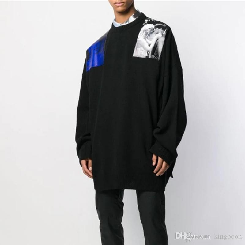 Trend 19FW Hip Hop-Herbst-Winter-Aufkleber Strickpullover Inside Outside Strick Pullover Pullover Fashion Street Pullover Outwear HFYMWY327