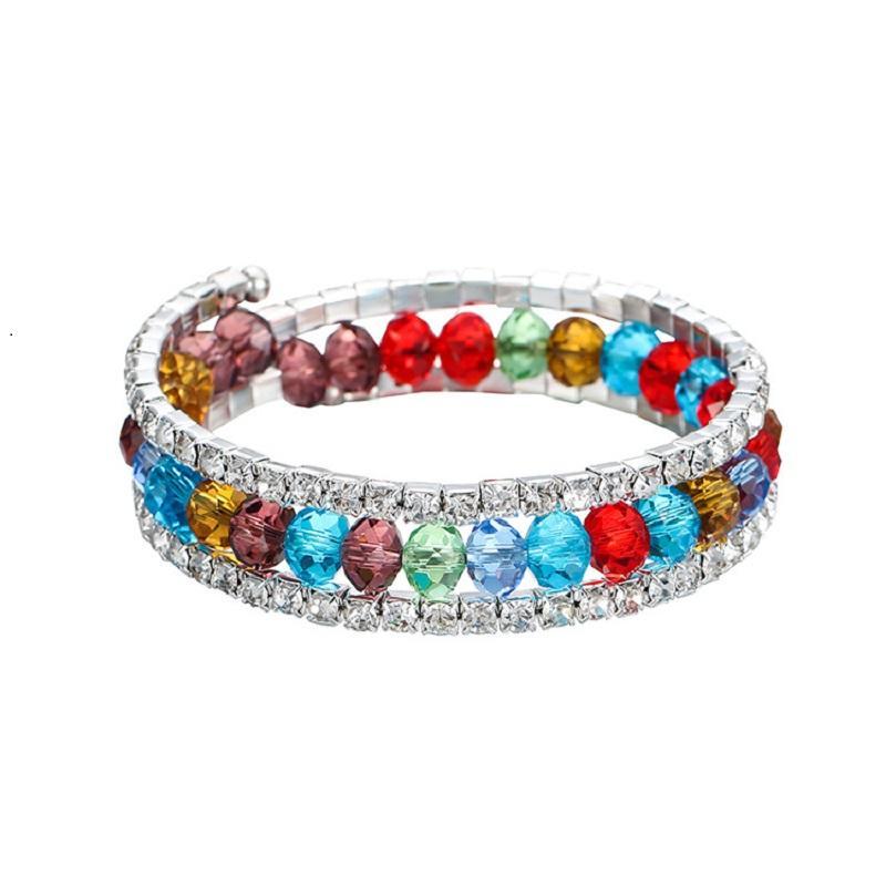 Colorful Rhinestone Austria Crystal Bracelets Bangles Shiny Row Zircon Elastic Bracelet Fashion Statement Jewelry for Women Gifts DHL
