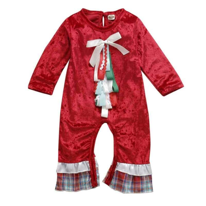 크리스마스 레드 벨벳 장난 꾸러기 신생아 아기 소년 소녀 크리스마스 옷 옷을 빌려 장난 꾸러기 유아 유아 아기 의류 의상 정장