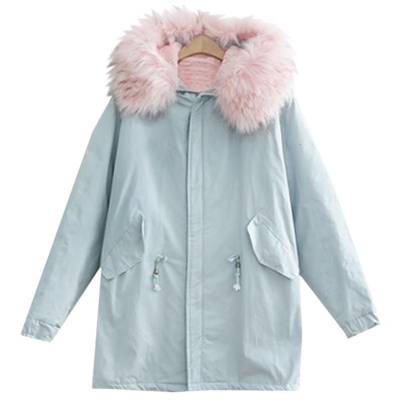 Veste hiver femme 2018 marque de mode Big fourrure bleu coton col capuche Manteau chaud d'hiver Parka pour les femmes S18101203