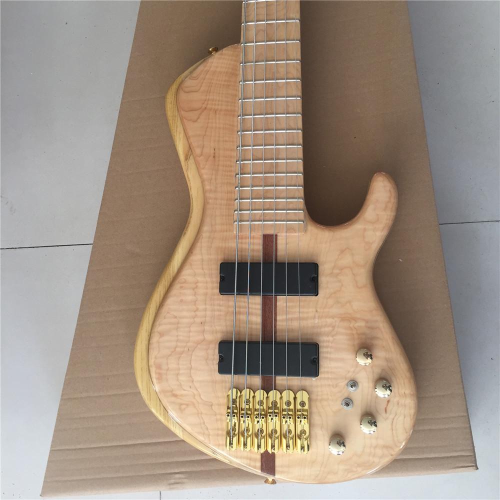 مخصص 6 سلاسل الغيتار الكهربائي باس ملتهب القيقب الأعلى العنق الظهور الجسم الذهب الأجهزة 24 الحنق بيك اب النشطة بالجملة