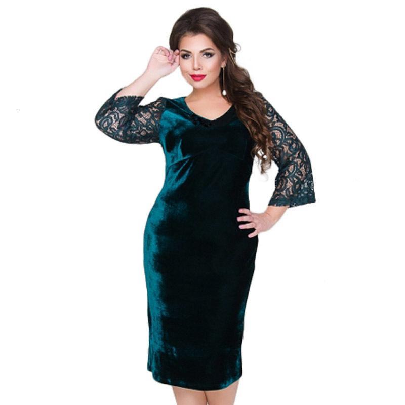 Femmes Vêtements femmes Designer robes femmes plus Robe en velours Taille Automne Femmes dentelle Bureau Femme Grande Taille 2019 Robes Tunique