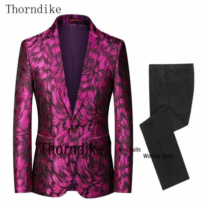 Thorndike 2020 New Style Jacquard impresso Homens Suit Slim Fit Wedding Tuxedo Plus Size Suits XS-4XL festa do casamento do noivo Masculino 2 Pcs
