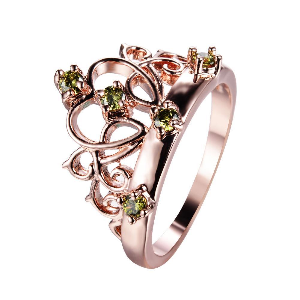 LuckyShine vendita calda Retro Rose Gold Crown Anelli Peridot rotondo per le donne il trasporto libero 6 pc