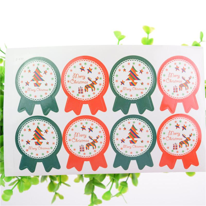 8pcs/sheet DIY Scrapbooking Merry stickers Merry Christmas Gift Packing kraft paper label For baking package box bags gift box C18112701