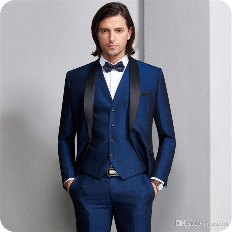 Acheter Bleu Marine Hommes Costumes Pour Costume De Mariage Homme Blazers  Noir Châle Revel Slim Fit Mariée Tuxedos 3 Pièce Dernier Manteau Pantalon