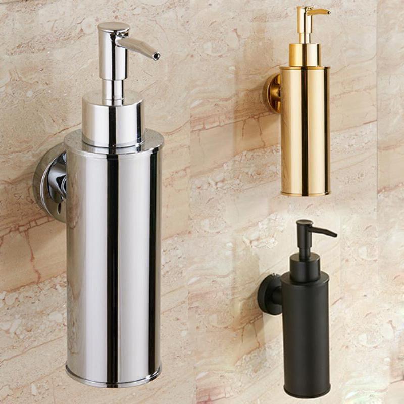 SUS 304 Bath Hand Soap Dispenser Bathroom Liquid Shampoo Bottle Storage Wall Mount Box Holder Stainless Steel Gold Chrome Black
