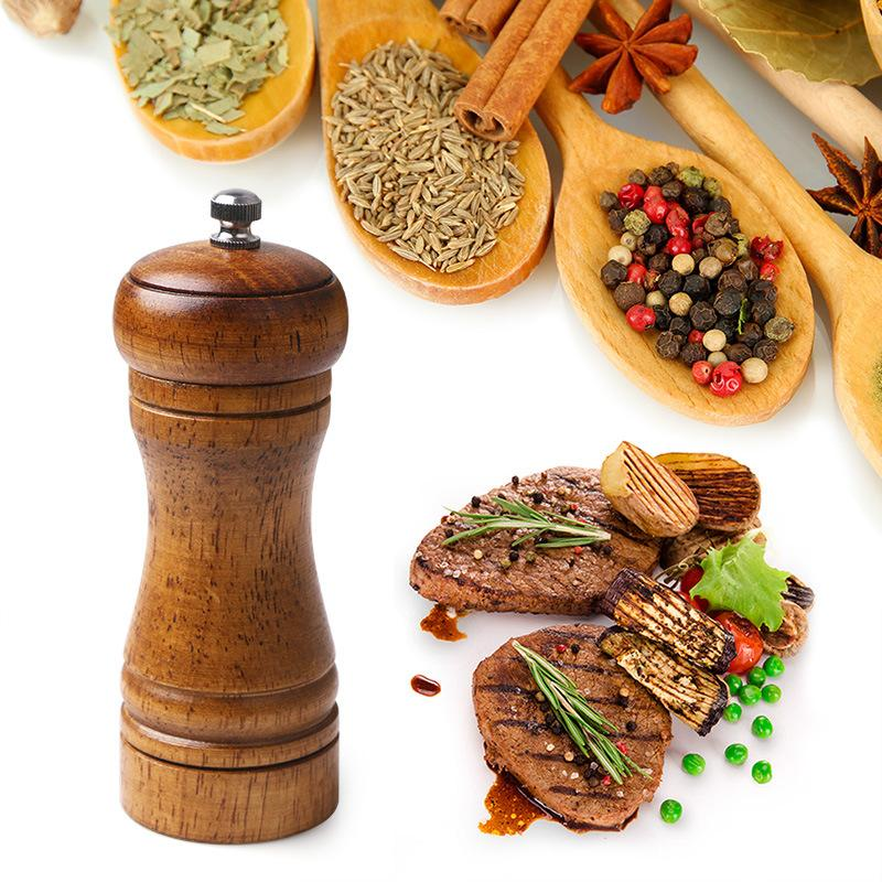 """Sale e pepe mulini, legno solido Macinapepe con forte regolabile macina in ceramica 5"""" 8"""" Kitchen BBQ Cooking Tools Dropship"""