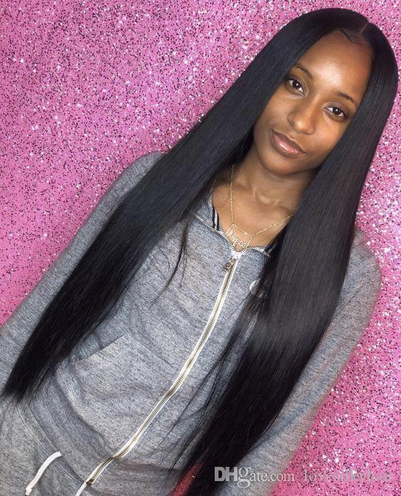 yeni bu saç uzun düz peruk simülasyon insan saçı peruk uzun ipeksi düz tam peruk orta kısmı