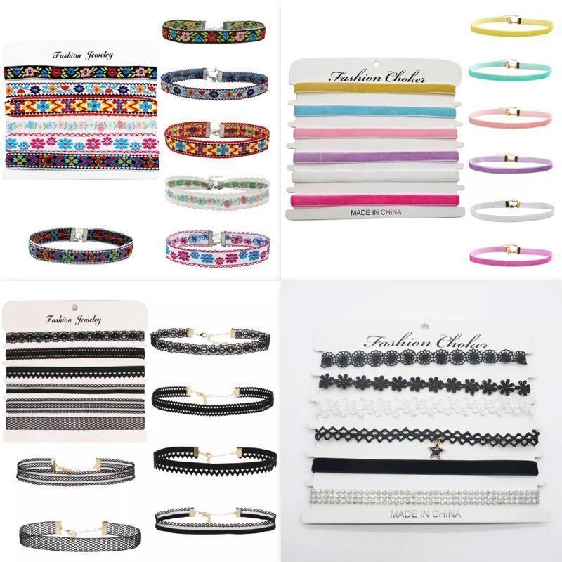 Mode Halskette Kombination Spitze Schlüsselbein Kette Samt Choker Frauen 6 teile / satz Ethnische Stickerei Schmuck Großhandel